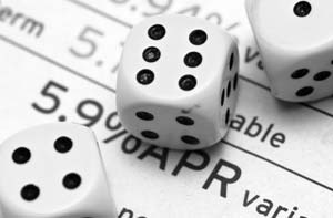 APR interest rates - statement figure with dice on top