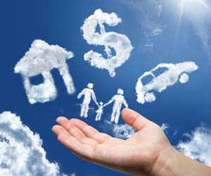 Loans for all - hand and cloud shapes