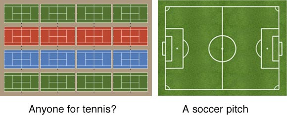Tennis Courts In 4x4 Formation And A Soccer Pitch