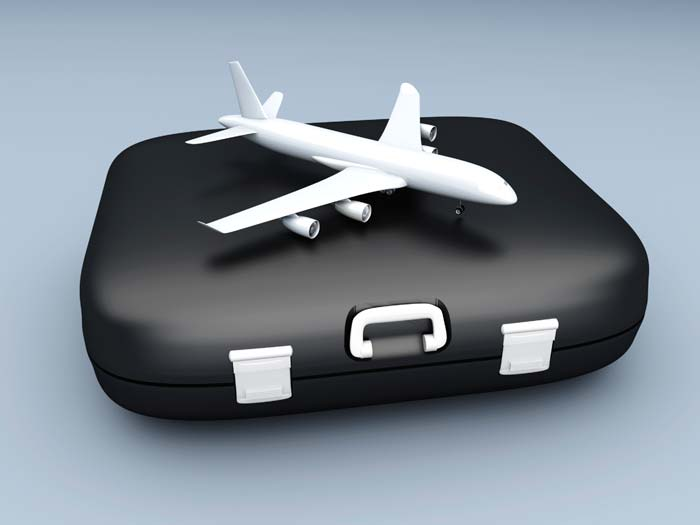 Suitcase with model plane on top