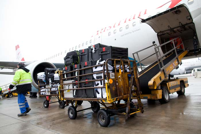 Baggage ready to be loaded onto aircraft