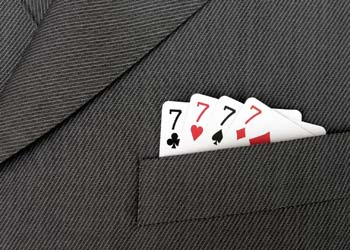 Playing cards in pocket - all sevens