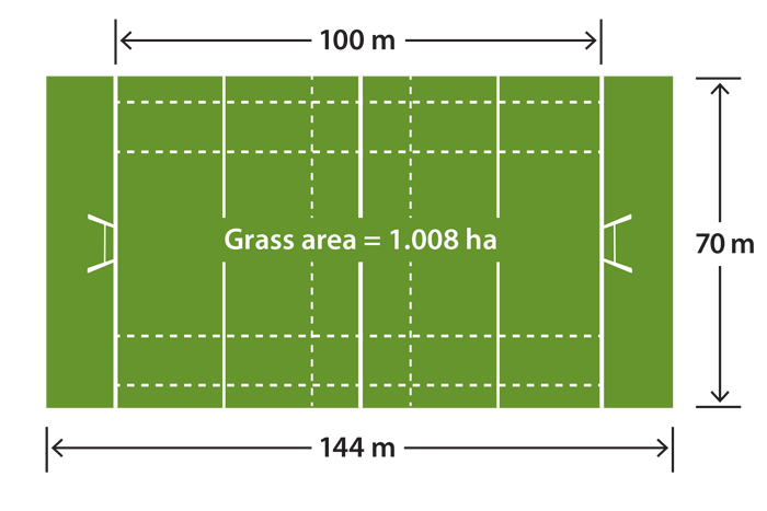 Measurements of a rugby field