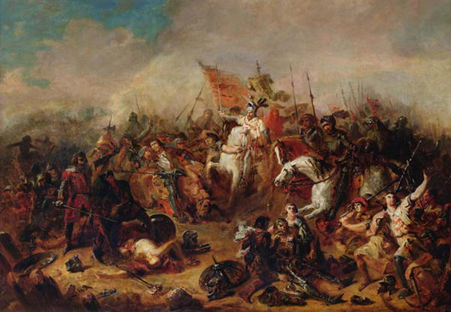 The Battle of Hastings in 1066, by artist Francois Hippolyte Debon (1807-1872)