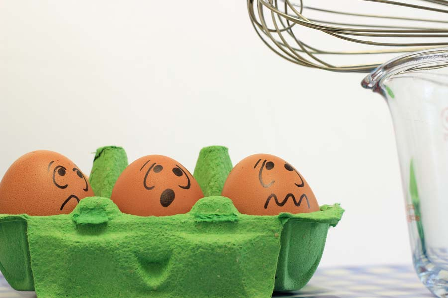Eggs with concerned faces