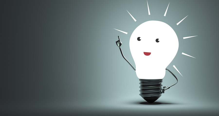 Graphic of a light bulb with face (having a light bulb moment)