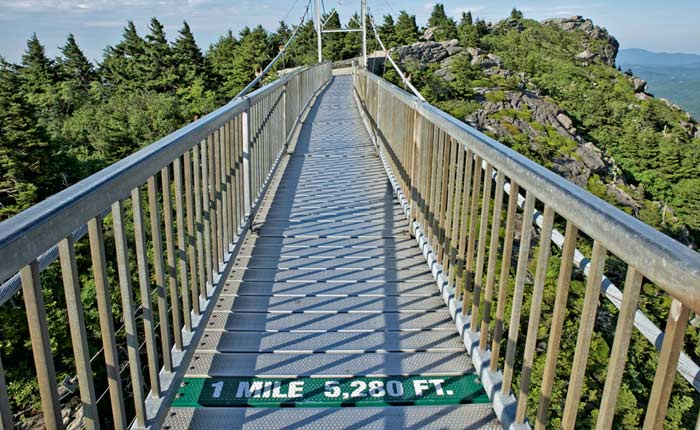 Grandfather Mountain Bridge showing miles and feet conversion