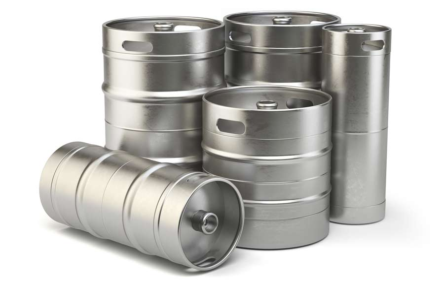 A selection of different sized beer kegs