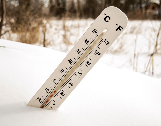 Thermometer stuck in snow