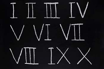 Roman numerals 1 to 10 on black background